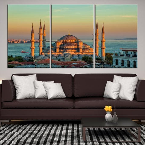 40018 - Large Wall Art Turkey Istanbul Skyline Canvas Print-Giclee Canvas (Wrapped)-AZULA Istanbul-Short 3 Panel-3-16x24-Extra Large Wall Art Canvas Print