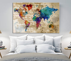 40757 - Rainbow Color Modern World Map Canvas Print-Giclee Canvas Print-Extra Large Wall Art Canvas Print-Extra Large Wall Art Canvas Print