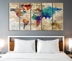 40757 - Rainbow Color Modern World Map Canvas Print