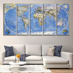 41471 - Large Wall Art World Map Canvas Print- Old World Map Travel Canvas Print- Modern XXL Large Wall Art World Map Canvas Print-Giclee Canvas Print-Extra Large Wall Art Canvas Print-Extra Large Wall Art Canvas Print