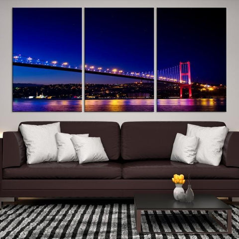 41630 - Large Wall Art Turkey Istanbul Skyline Canvas Print-Giclee Canvas (Wrapped)-AZULA Istanbul-Short 3 Panel-3-16x24-Extra Large Wall Art Canvas Print