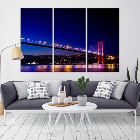 41630 - Large Wall Art Turkey Istanbul Skyline Canvas Print-Giclee Canvas (Wrapped)-AZULA Istanbul-Long 3 Panel-Per Panel 16x32 Inches-Extra Large Wall Art Canvas Print