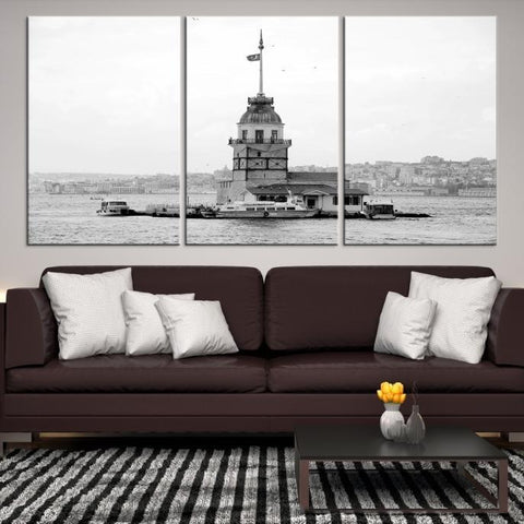 44743 - Large Wall Art Turkey Istanbul Skyline Canvas Print-Giclee Canvas (Wrapped)-AZULA Istanbul-Short 3 Panel-3-16x24-Extra Large Wall Art Canvas Print