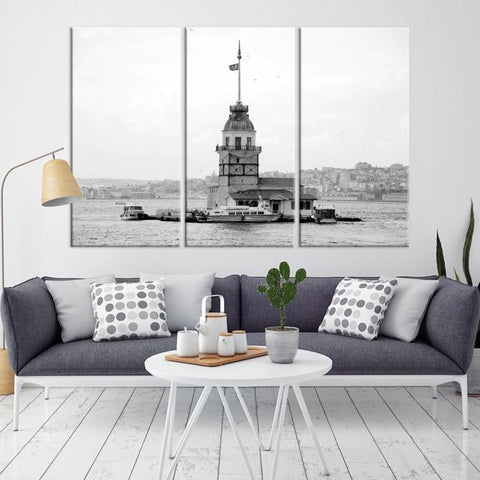 44743 - Large Wall Art Turkey Istanbul Skyline Canvas Print-Giclee Canvas (Wrapped)-AZULA Istanbul-Long 3 Panel-Per Panel 16x32 Inches-Extra Large Wall Art Canvas Print