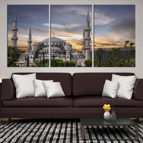 47882 - Large Wall Art Turkey Istanbul Skyline Canvas Print-Giclee Canvas (Wrapped)-AZULA Istanbul-Short 3 Panel-3-16x24-Extra Large Wall Art Canvas Print