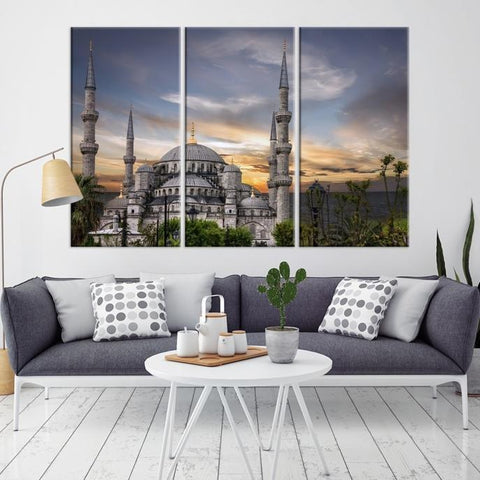 47882 - Large Wall Art Turkey Istanbul Skyline Canvas Print-Giclee Canvas (Wrapped)-AZULA Istanbul-Long 3 Panel-Per Panel 16x32 Inches-Extra Large Wall Art Canvas Print