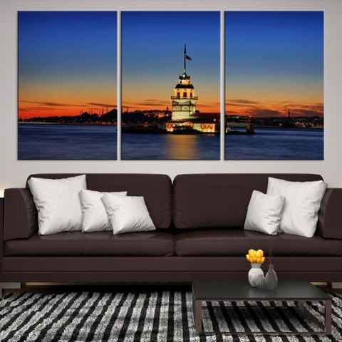 49069 - Large Wall Art Turkey Istanbul Skyline Canvas Print-Giclee Canvas (Wrapped)-AZULA Istanbul-Short 3 Panel-3-16x24-Extra Large Wall Art Canvas Print