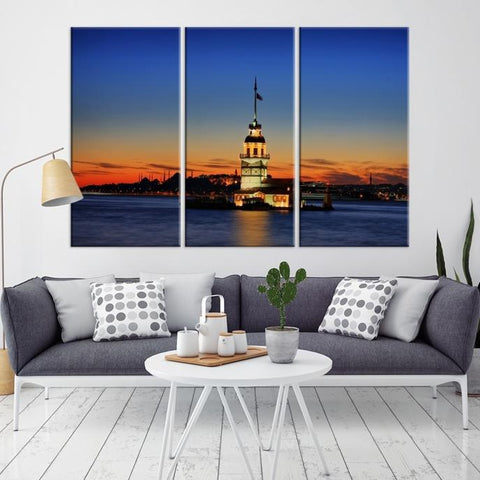 49069 - Large Wall Art Turkey Istanbul Skyline Canvas Print-Giclee Canvas (Wrapped)-AZULA Istanbul-Long 3 Panel-Per Panel 16x32 Inches-Extra Large Wall Art Canvas Print