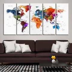 53589 - World Map Wall Art- World Map Canvas- World Map Print- World Map Poster- World Map Art- World Map Push Pin-Giclee Canvas Print-Extra Large Wall Art Canvas Print-Extra Large Wall Art Canvas Print