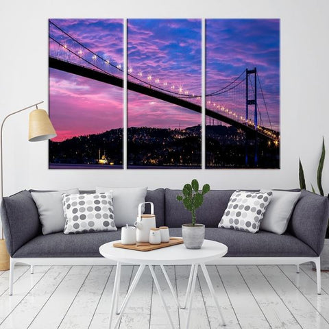 53775 - Large Wall Art Turkey Istanbul Skyline Canvas Print-Giclee Canvas (Wrapped)-AZULA Istanbul-Long 3 Panel-Per Panel 16x32 Inches-Extra Large Wall Art Canvas Print