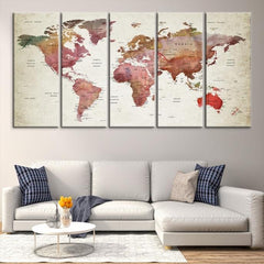 54617 - Large Wall Art World Map Canvas Print- Custom World Map Push Pin Wall Art- Custom World Map Canvas Poster Print- Personalized Wall Art Extra Large Wall Art Canvas Print