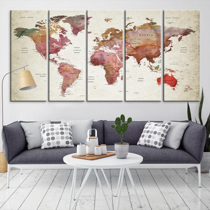 54617 - Large Wall Art World Map Canvas Print- Custom World Map Push Pin Wall Art- Custom World Map Canvas Poster Print- Personalized Wall Art-Extra Large Wall Art Canvas Print-Extra Large Wall Art Canvas Print