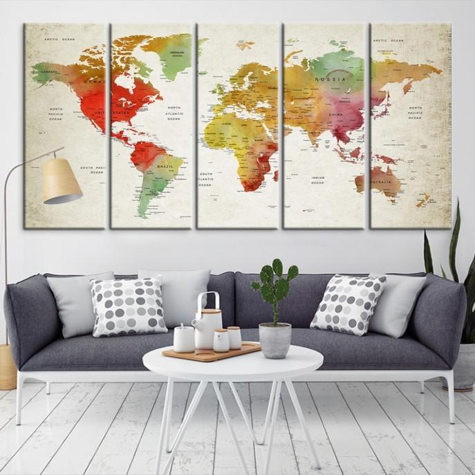 54665 - Large Wall Art World Map Canvas Print- Custom World Map Push Pin Wall Art- Custom World Map Canvas Poster Print- Personalized Wall Art-Extra Large Wall Art Canvas Print-Extra Large Wall Art Canvas Print