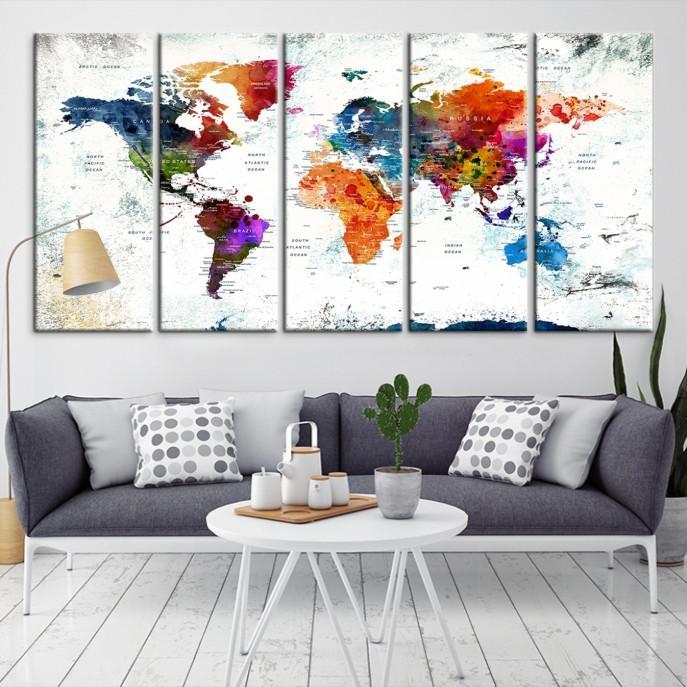 57839 - World Map Wall Art- World Map Canvas- World Map Print- World Map Poster- World Map Art- World Map Push Pin-Giclee Canvas Print-Extra Large Wall Art Canvas Print-Extra Large Wall Art Canvas Print