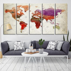 58389 - Large Wall Art World Map Canvas Print- Custom World Map Push Pin Wall Art- Custom World Map Canvas Poster Print- Personalized Wall Art-Extra Large Wall Art Canvas Print-Extra Large Wall Art Canvas Print