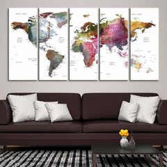 58846 - Large Wall Art World Map Canvas Print- Custom World Map Push Pin Wall Art- Custom World Map Canvas Poster Print- Personalized Wall Art-Extra Large Wall Art Canvas Print-Extra Large Wall Art Canvas Print