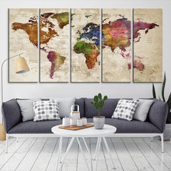 60535 - Large Wall Art World Map Canvas Print- Custom World Map Push Pin Wall Art- Custom World Map Canvas Poster Print- Personalized Wall Art-Extra Large Wall Art Canvas Print-Extra Large Wall Art Canvas Print