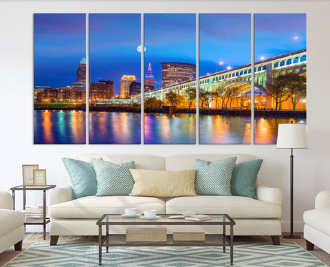63099A - Night in Cleveland, Extra Large Cleveland Wall Art Canvas Print, Cleveland Ohio Wall Art, Cleveland City Skyline Canvas, Skyline Wall Art, Full Moon Wall Art