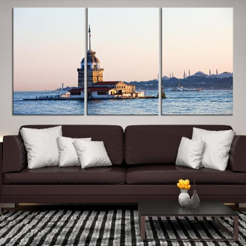 63708 - Large Wall Art Turkey Istanbul Skyline Canvas Print-Giclee Canvas (Wrapped)-AZULA Istanbul-Short 3 Panel-3-16x24-Extra Large Wall Art Canvas Print