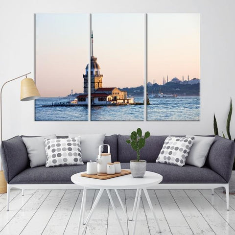 63708 - Large Wall Art Turkey Istanbul Skyline Canvas Print-Giclee Canvas (Wrapped)-AZULA Istanbul-Long 3 Panel-Per Panel 16x32 Inches-Extra Large Wall Art Canvas Print