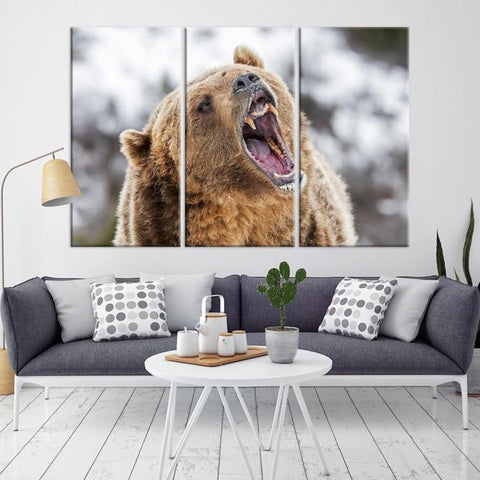 65232 - Large Wall Art Wild Bears Canvas Print - Framed - Ready to Hang-Giclee Canvas Print-Push-Pin-World-Map-Extra Large Wall Art Canvas Print