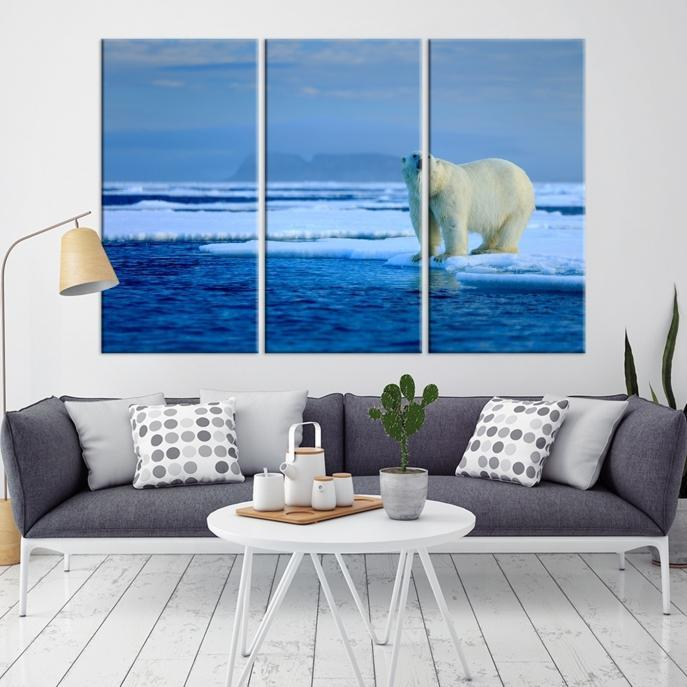 65633 - Large Wall Art Polar Bears Canvas Print - Framed - Ready to Hang-Giclee Canvas Print-Push-Pin-World-Map-Extra Large Wall Art Canvas Print