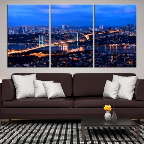75311 - Large Wall Art Turkey Istanbul Skyline Canvas Print-Giclee Canvas (Wrapped)-AZULA Istanbul-Short 3 Panel-3-16x24-Extra Large Wall Art Canvas Print