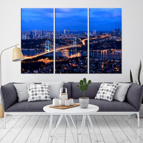 75311 - Large Wall Art Turkey Istanbul Skyline Canvas Print-Giclee Canvas (Wrapped)-AZULA Istanbul-Long 3 Panel-Per Panel 16x32 Inches-Extra Large Wall Art Canvas Print