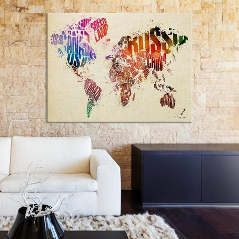 75467 - Large Watercolor World Map Canvas Print-Giclee Canvas Print-Push-Pin-World-Map-Extra Large Wall Art Canvas Print