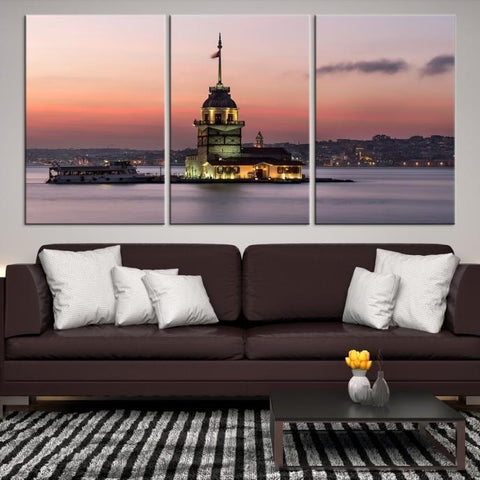 76859 - Large Wall Art Turkey Istanbul Skyline Canvas Print-Giclee Canvas (Wrapped)-AZULA Istanbul-Short 3 Panel-3-16x24-Extra Large Wall Art Canvas Print