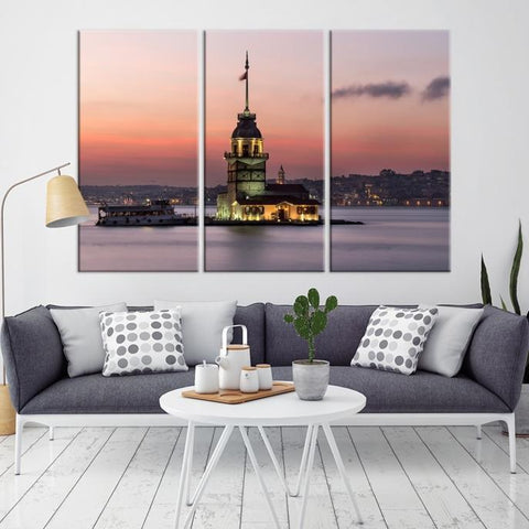 76859 - Large Wall Art Turkey Istanbul Skyline Canvas Print-Giclee Canvas (Wrapped)-AZULA Istanbul-Long 3 Panel-Per Panel 16x32 Inches-Extra Large Wall Art Canvas Print