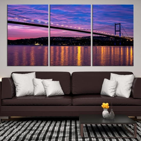 77157 - Large Wall Art Turkey Istanbul Skyline Canvas Print-Giclee Canvas (Wrapped)-AZULA Istanbul-Short 3 Panel-3-16x24-Extra Large Wall Art Canvas Print