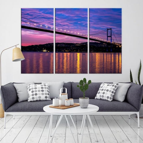 77157 - Large Wall Art Turkey Istanbul Skyline Canvas Print-Giclee Canvas (Wrapped)-AZULA Istanbul-Long 3 Panel-Per Panel 16x32 Inches-Extra Large Wall Art Canvas Print