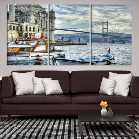 77250 - Large Wall Art Turkey Istanbul Skyline Canvas Print-Giclee Canvas (Wrapped)-AZULA Istanbul-Short 3 Panel-3-16x24-Extra Large Wall Art Canvas Print