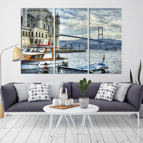 77250 - Large Wall Art Turkey Istanbul Skyline Canvas Print-Giclee Canvas (Wrapped)-AZULA Istanbul-Long 3 Panel-Per Panel 16x32 Inches-Extra Large Wall Art Canvas Print