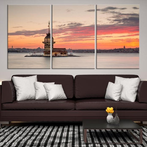 78353 - Large Wall Art Turkey Istanbul Skyline Canvas Print-Giclee Canvas (Wrapped)-AZULA Istanbul-Short 3 Panel-3-16x24-Extra Large Wall Art Canvas Print