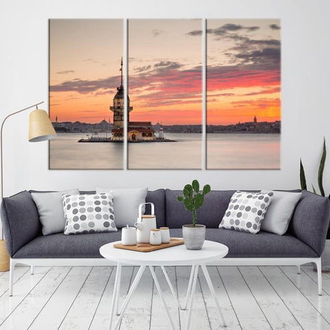 78353 - Large Wall Art Turkey Istanbul Skyline Canvas Print-Giclee Canvas (Wrapped)-AZULA Istanbul-Long 3 Panel-Per Panel 16x32 Inches-Extra Large Wall Art Canvas Print