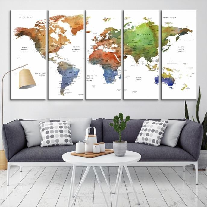 80134 - Large Wall Art World Map Canvas Print- Custom World Map Push Pin Wall Art- Custom World Map Canvas Poster Print- Personalized Wall Art-Extra Large Wall Art Canvas Print-Extra Large Wall Art Canvas Print