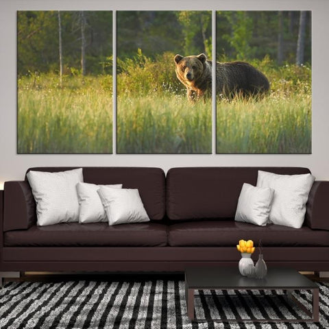 80559 - Large Wall Art Wild Bears in Nature Canvas Print - Framed - Ready to Hang-Giclee Canvas Print-Push-Pin-World-Map-Extra Large Wall Art Canvas Print