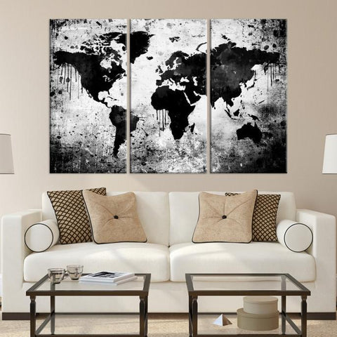 81349 - Large Wall Art World Map Watercolor Canvas Print - World Map Poster Print - Black World Map Art-Giclee Canvas Print-Extra Large Wall Art Canvas Print-Extra Large Wall Art Canvas Print
