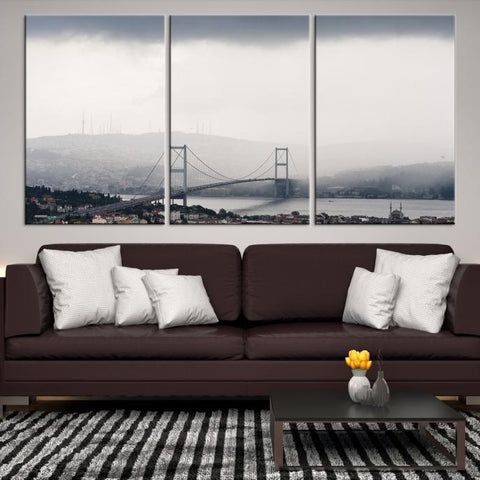82847 - Large Wall Art Turkey Istanbul Skyline Canvas Print-Giclee Canvas (Wrapped)-AZULA Istanbul-Short 3 Panel-3-16x24-Extra Large Wall Art Canvas Print