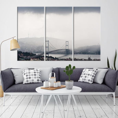 82847 - Large Wall Art Turkey Istanbul Skyline Canvas Print-Giclee Canvas (Wrapped)-AZULA Istanbul-Long 3 Panel-Per Panel 16x32 Inches-Extra Large Wall Art Canvas Print
