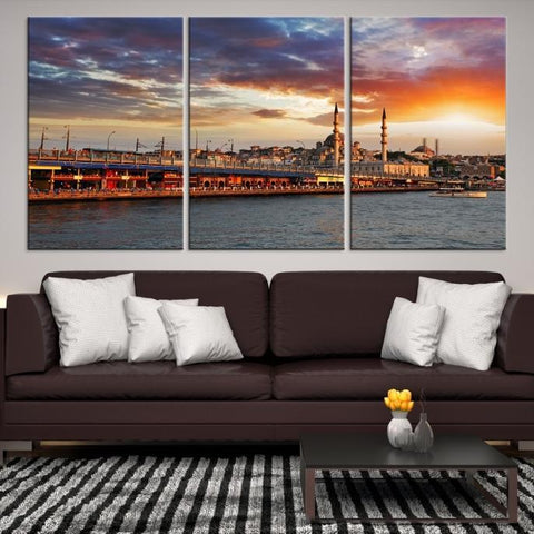 83610 - Large Wall Art Turkey Istanbul Skyline Canvas Print-Giclee Canvas (Wrapped)-AZULA Istanbul-Short 3 Panel-3-16x24-Extra Large Wall Art Canvas Print