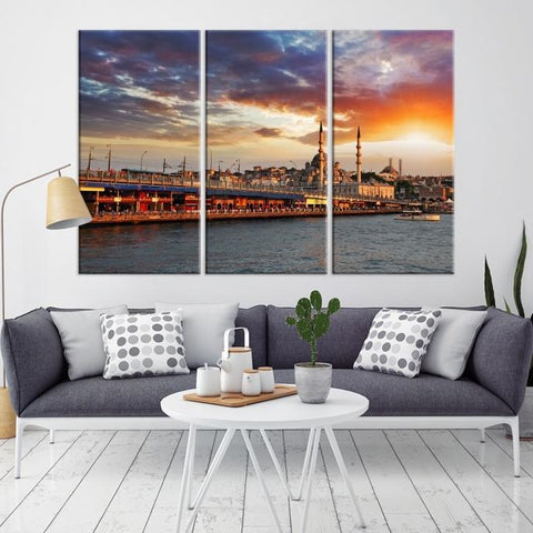 83610 - Large Wall Art Turkey Istanbul Skyline Canvas Print-Giclee Canvas (Wrapped)-AZULA Istanbul-Long 3 Panel-Per Panel 16x32 Inches-Extra Large Wall Art Canvas Print