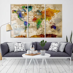 83642 - World Map Wall Art- World Map Canvas- World Map Print- World Map Poster- World Map Art- World Map Push Pin- Push Pin World Map-Giclee Canvas Print-Extra Large Wall Art Canvas Print-Extra Large Wall Art Canvas Print