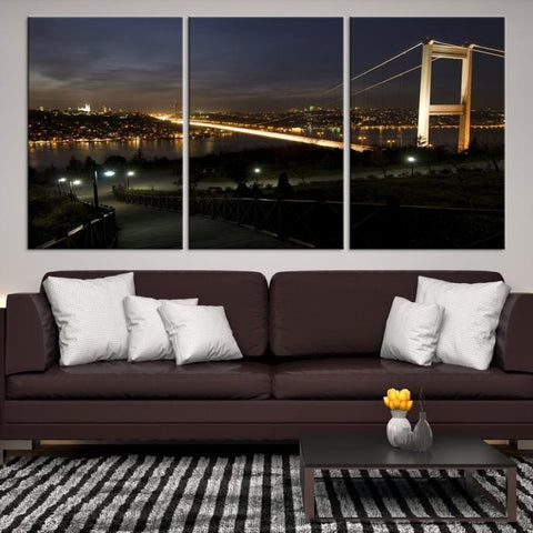 83674 - Large Wall Art Turkey Istanbul Skyline Canvas Print-Giclee Canvas (Wrapped)-AZULA Istanbul-Short 3 Panel-3-16x24-Extra Large Wall Art Canvas Print