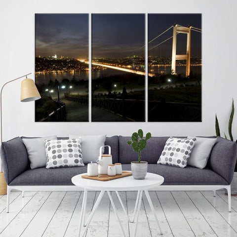 83674 - Large Wall Art Turkey Istanbul Skyline Canvas Print-Giclee Canvas (Wrapped)-AZULA Istanbul-Long 3 Panel-Per Panel 16x32 Inches-Extra Large Wall Art Canvas Print