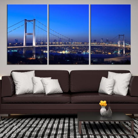 84596 - Large Wall Art Turkey Istanbul Skyline Canvas Print-Giclee Canvas (Wrapped)-AZULA Istanbul-Short 3 Panel-3-16x24-Extra Large Wall Art Canvas Print