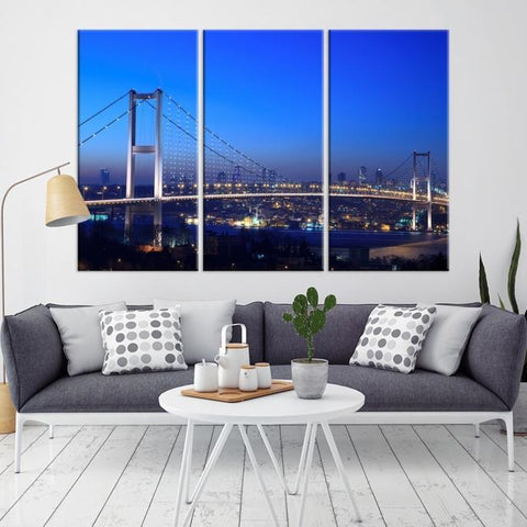 84596 - Large Wall Art Turkey Istanbul Skyline Canvas Print-Giclee Canvas (Wrapped)-AZULA Istanbul-Long 3 Panel-Per Panel 16x32 Inches-Extra Large Wall Art Canvas Print