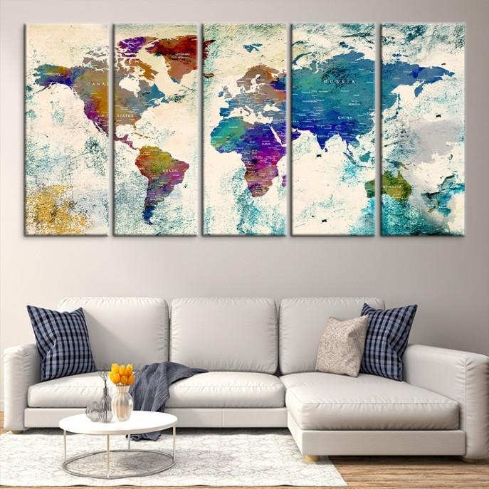 86657 - World Map Wall Art- World Map Canvas- World Map Print- World Map Poster- World Map Art- World Map Push Pin-Giclee Canvas Print-Extra Large Wall Art Canvas Print-Extra Large Wall Art Canvas Print